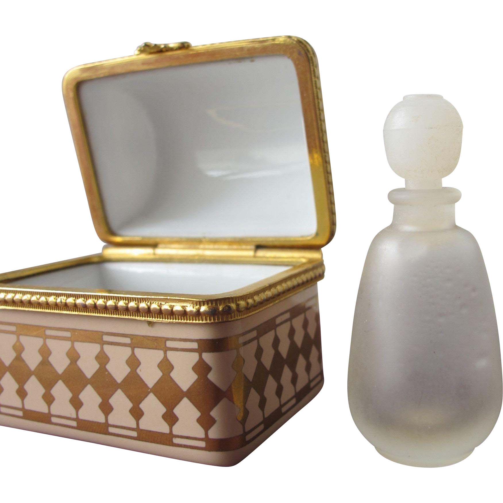 Estee Lauder Porcelain Treasure Chest with Mini Perfume Bottle Private Collection Keepsake Box