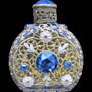 Exceptional Jeweled Czechoslovakian Perfume Bottle Blue Rhinestones Enameled Flowers and Filigree