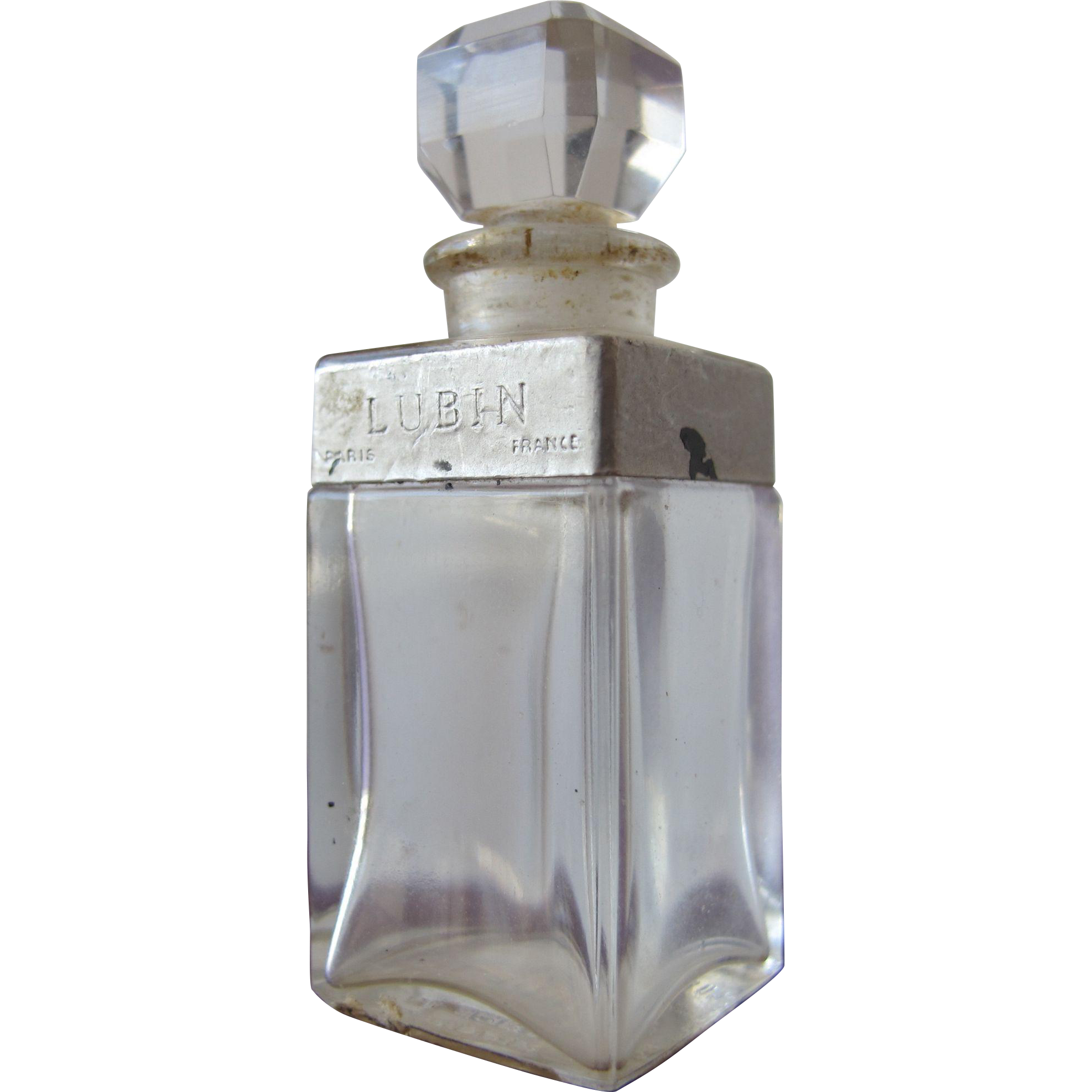 Lubin Perfume Bottle Small All Glass Scent Bottle Nuit de Longchamp 1935