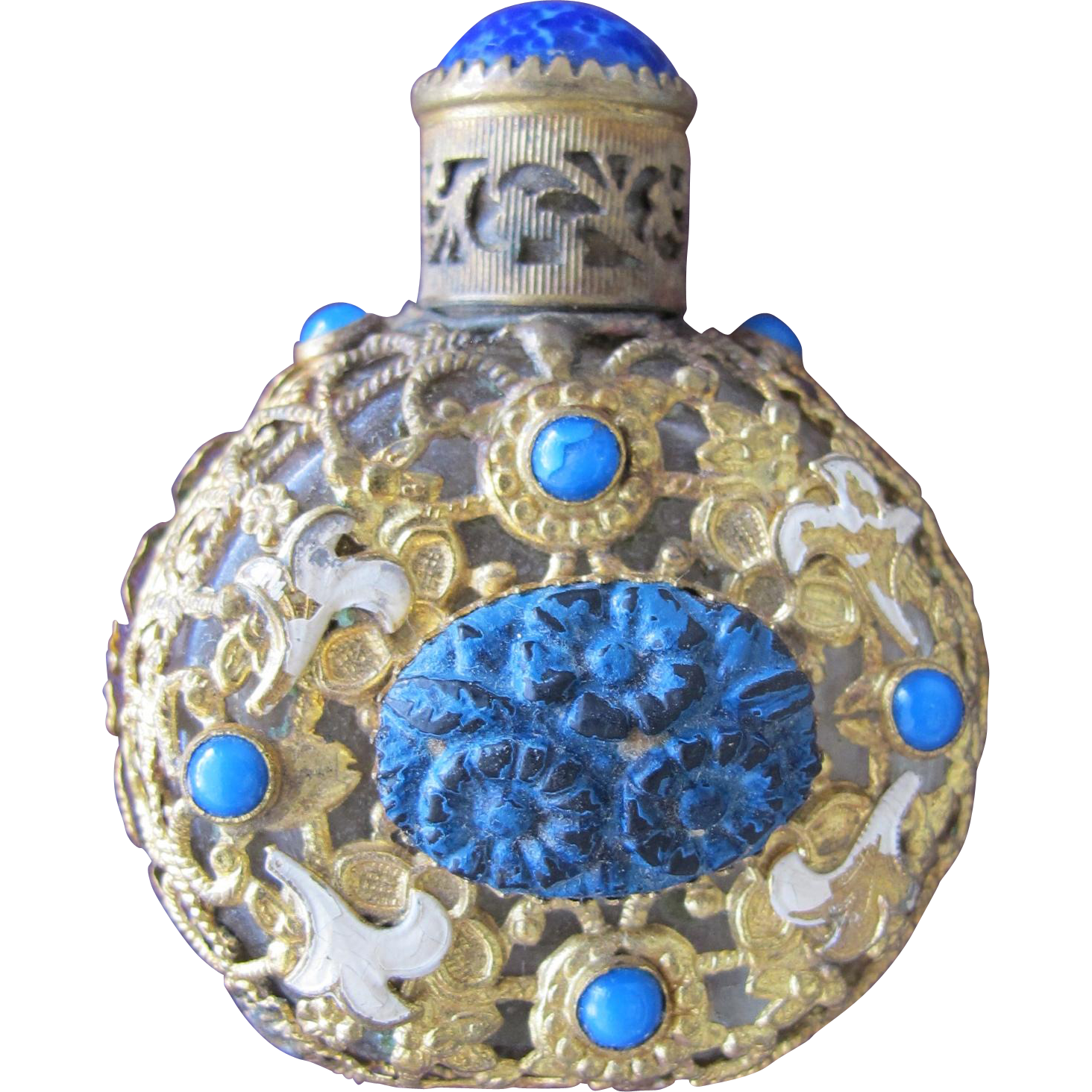 Jeweled Czechoslovakian Perfume Bottle Blue Lapis Stone Enameled Flowers Filigree