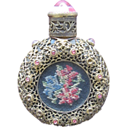 Austrian Jeweled Perfume Bottle Pink Rhinestones and Petit Point Filigree