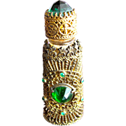 Jeweled Perfume Bottle Czechoslovakian Mini Purse Perfume Green