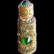 Jeweled Perfume Bottle Czechoslovakian Mini Purse Perfume Green