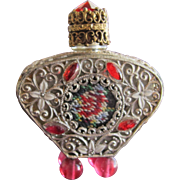 Jeweled Czechoslovakian Perfume Bottle Mini Red Rhinestones Filigree Enamel
