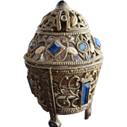 Jeweled Czechoslovakian Perfume Bottle Mini Blue Rhinestones Filigree Enamel