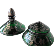 Green Perfume Bottle Set With Powder Bowl Turn of the Century 1900 Silver Overlay
