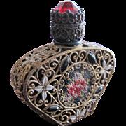 Jeweled Czechoslovakian Perfume Bottle Mini Black  Rhinestones Filigree Enamel