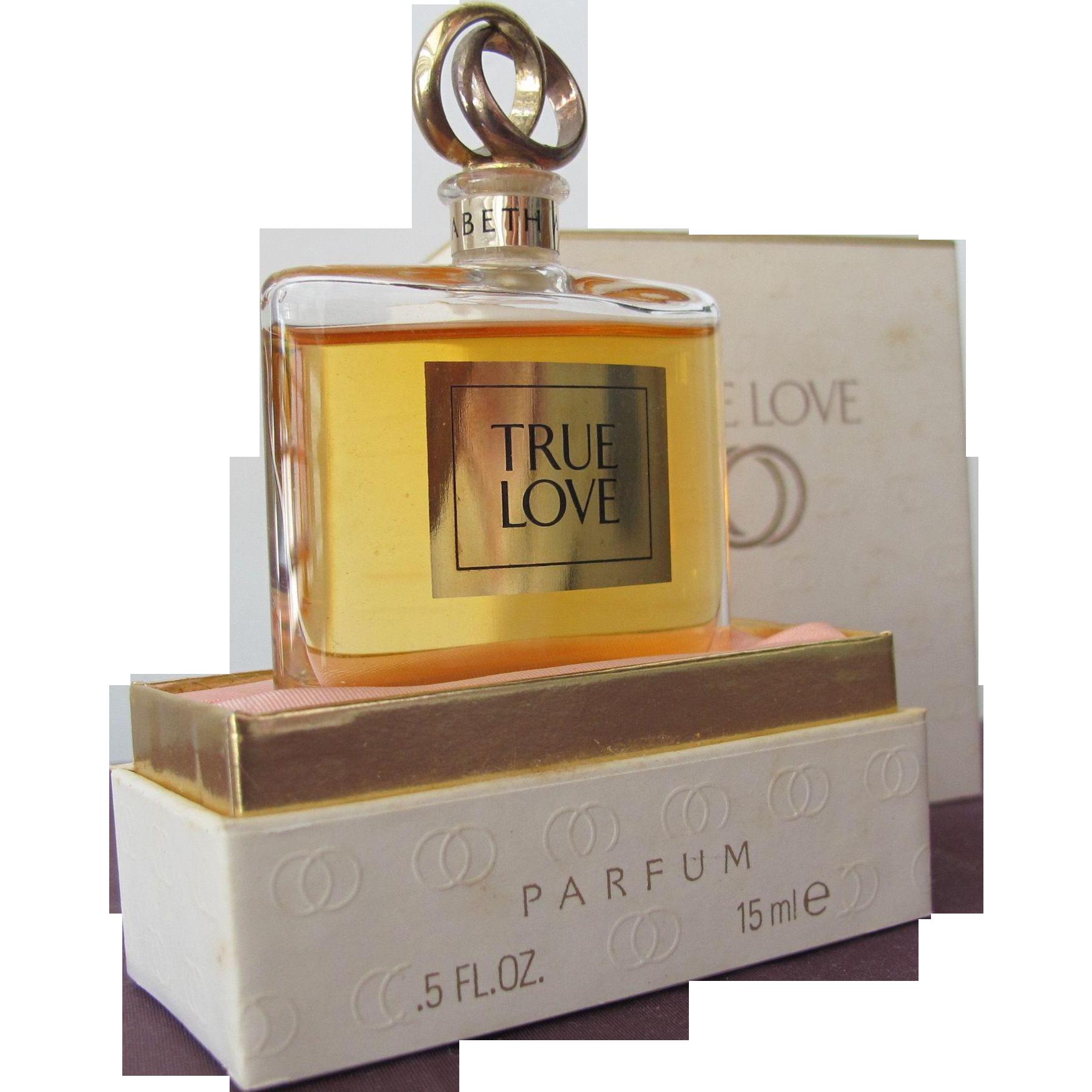 Elizabeth Arden Vintage Perfume Bottle True Love with Wedding Ring Top in Boxes