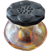 Caron Perfume Bottle with Flower Glass Stopper and Label