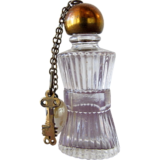 Vintage Perfume Bottle with Heart and Key Charms Ridged Glass Mini Size Bottle