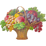 Victorian Die Cut Fruit Basket Germany Gorgeous