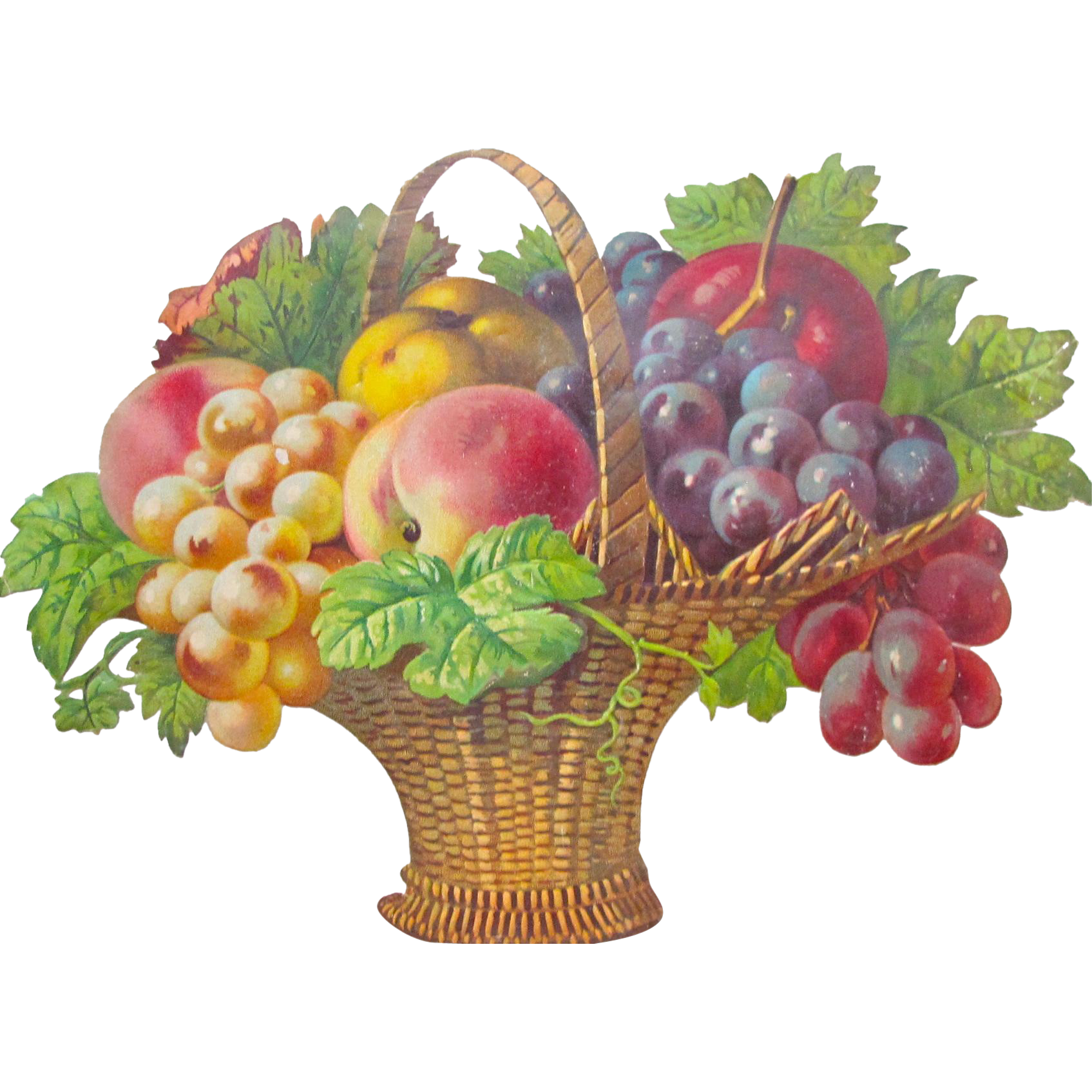 Victorian Die Cut Fruit Basket Germany Gorgeous From