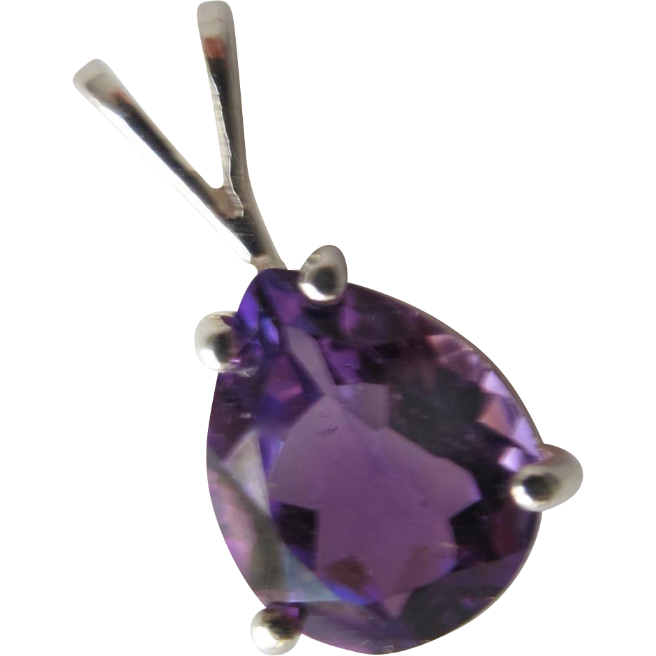 Amethyst Pendant in Sterling Silver Marked 925 Amethyst Gemstone