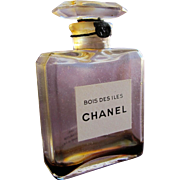 1930's Chanel Perfume Bottle Bois Des Iles Thin Glass Top Unopened with Cord and Tag