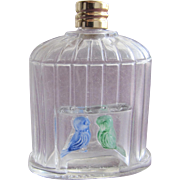 French Perfume Bottle Mini Commercial with Enamel Birds in Molded Glass Bird Cage