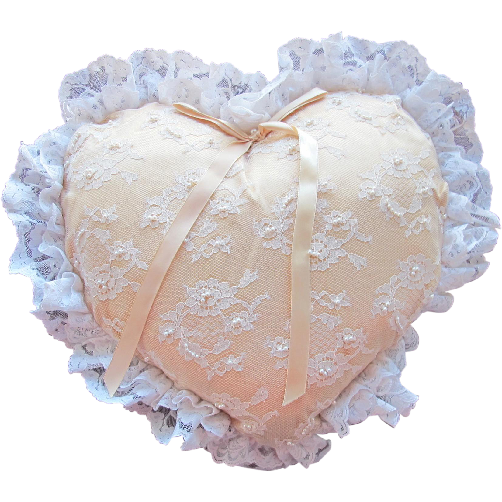 Heart Pillow for Wedding Ring Barer or Decoration in Satin Lace and Pearl Beading