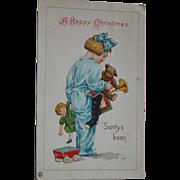Christmas Postcard 1922 Girl with Doll and Toys