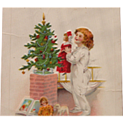 Christmas Wishes Postcard with Girl and Dolls