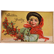 Christmas Greeting Postcard by Illustrator Gassaway
