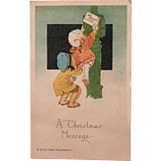 Christmas Postcard with Printed Message on Back Artist Signed