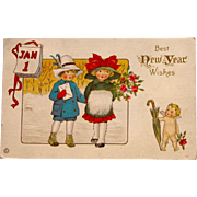 Vintage Christmas Postcard to Sister for New Year Wishes