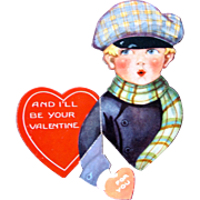Vintage Valentine's Day Card Fold Out 1920's