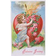 Valentine's Day Post Card Germany Embossed Cherub with Hearts