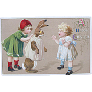 RARE Easter Postcard Winsch Dressed Rabbit EX Condition