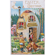 Easter Post Card Dressed Rabbits Germany Embossed EX Condition