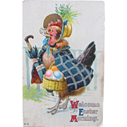 Easter Postcard with Dressed Chicken