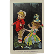 Post Card with Young Children Married