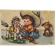 Vintage Post Card with Little Cowboy and Rocking Horse