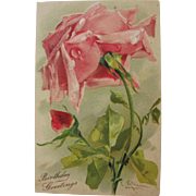 Post Card of Roses by Catherine Klein Birthday Greetings Unused