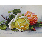 Floral Post Card Artist Signed Catherine Klein Roses