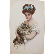 Post Card Artist Signed Harrison Fisher with Glamour Girl and Cat