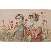 Art Nouveau Post Card with Two Ladies 1906