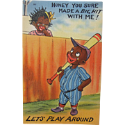 SALE Post Card Comical Black Americana Baseball Cutie Unused