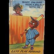 Post Card Comical Black Americana Baseball Cutie Unused