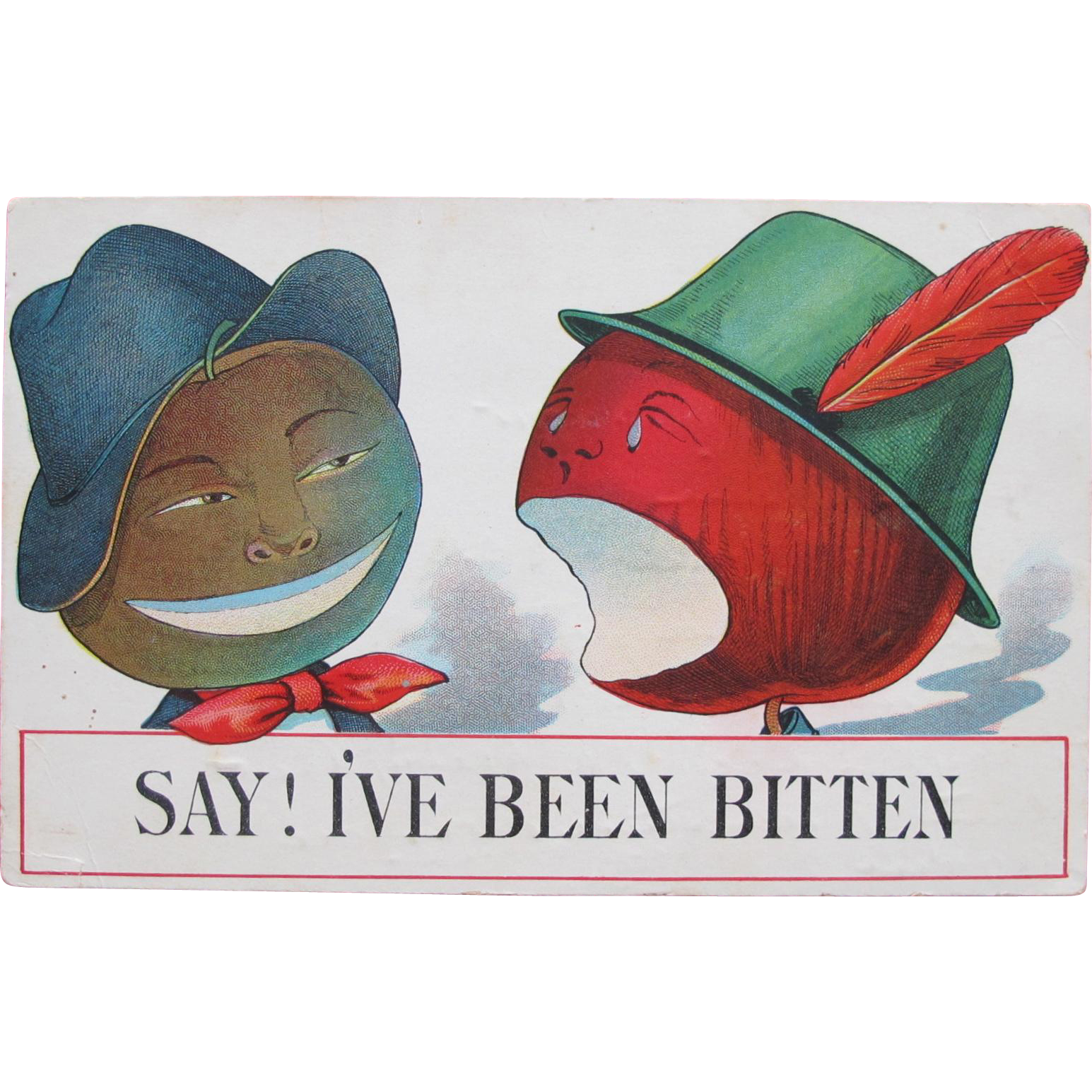 Valentine's Post Card Talking Dressed Fruit in Hats