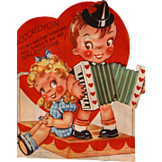 Vintage Valentine's Day Mechanical Card 1949 Accordion Moves