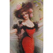 Unused Post Card with Art Nouveau Lady Hat of Roses