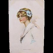 Post Card Artist Signed Harrison Art Nouveau Glamour Girl