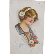 Post Card Artist Signed Harrison Art Nouveau Glamour Girl