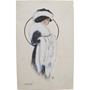 Artist Signed Post Card McFall Art Nouveau Beauty In Fur Fashion