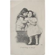 Risque Postcard with Curious Children Black and White 1911