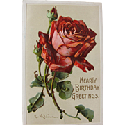 Post Card Artist Signed Catherine Klein Red Roses for Birthday Greeting