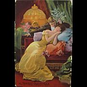 Christmas Postcard with Holiday Spirit of Romantic Couple