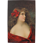 Artist Signed Postcard by A. Asti Glamour Portraits Paris Printer