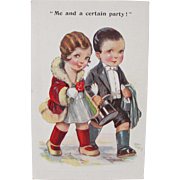 Artist Signed Post Card Cute Couple Out on the Town