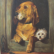 Post Card in the Doghouse with Dogs